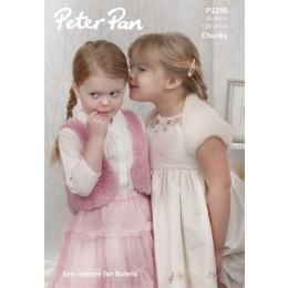 P1296 Girls Bolero, Waistcoat and Shrug in Peter Pan Precious Chunky