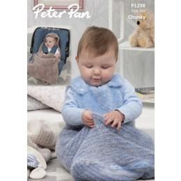 P1298 Snuggle Bag & Car Seat Blanket in Peter Pan Precious Chunky