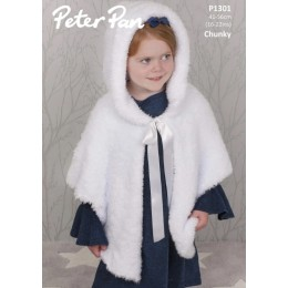 P1301 Hooded Cape in Peter Pan Precious Chunky