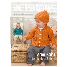Patons 3928 Cable Knit Jacket, Sweater and Beanie in Fairytale Soft DK