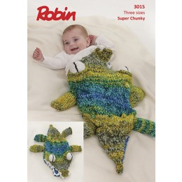 R3015 Crocodile Sleeping Bag for Babies in Robin Paintbox Splash Super Chunky