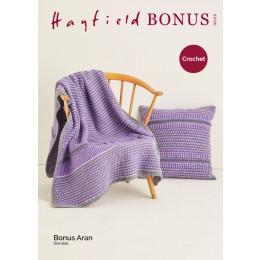 S10123 Crochet Blanket & Cushion in Hayfield Bonus Aran