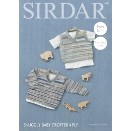 S4712 Sweater and Tank for Babies and Children in Sirdar Snuggly Baby Crofter 4ply