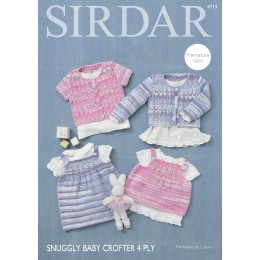 S4713 Cardigans, Top and Dress for Babies in Sirdar Snuggly Baby Crofter 4ply