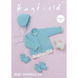 S4718 Bonnet, Bootees, Mittens and a Cardigan for Babies in Hayfield Baby Sparkle DK