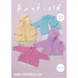 S4721 Four Cardigan Designs for Babies in Hayfield Baby Sparkle DK