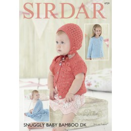 S4729 Blanket, Bonnet and Cardigan for Babies and Children in Sirdar Snuggly Baby Bamboo DK