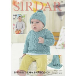 S4731 Blanket, Hat and Sweater for Babies and Children in Sirdar Snuggly Baby Bamboo DK