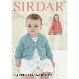 S4733 Cardigans for Babies and Children in Sirdar Snuggly Baby Bamboo DK