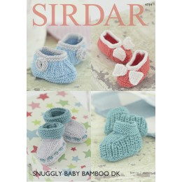 S4734 Booties for Babies in Sirdar Snuggly Baby Bamboo DK