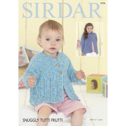 S4736 Cardigans for Babies and Girls in Sirdar Snuggly Tutti Frutti