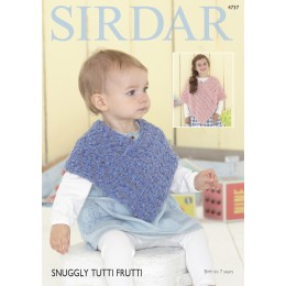 S4737 Poncho for Babies and Children in Sirdar Snuggly Tutti Frutti