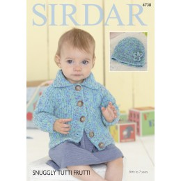S4738 Cardigan and Hat for Babies in Sirdar Snuggly Tutti Frutti