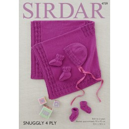 S4739 Blanket, Bonnet and Bootees in Sirdar Snuggly 4ply