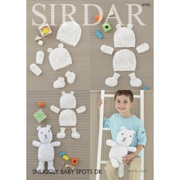 S4745 Bear, Bootees, Hat and Mittens in Sirdar Snuggly Baby Spots DK