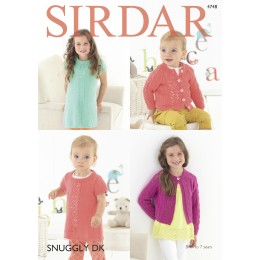 S4748 Cardigans and Dress for Babies and Children in Sirdar Snuggly DK