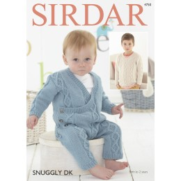 S4750 Onesie and Sweater for Babies in Sirdar Snuggly DK