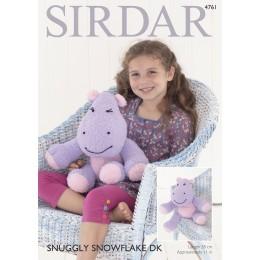 S4761 Hippopotamus Toy in Sirdar Snuggly Snowflake DK
