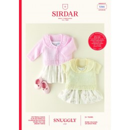 S5366 Frill Neck Cardigan & Top for Babies in Sirdar Snuggly 3Ply