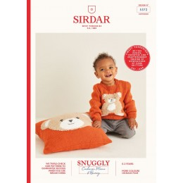 S5372 Babies Bear Sweater & Matching Cushion in Sirdar Snuggly Cashmere Merino & Bunny