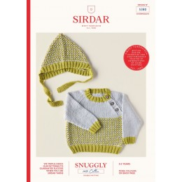 S5380 Baby's Sweater & Bonnet in Sirdar Snuggly 100% Cotton DK