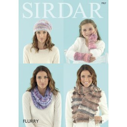 S7957 Hat, Scarf, Snood and Wrist Warmers for Children and Adults in Sirdar Flurry