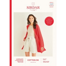 S10249 Ladies Longline Picot Crochet Cardigan in Sirdar Cotton DK