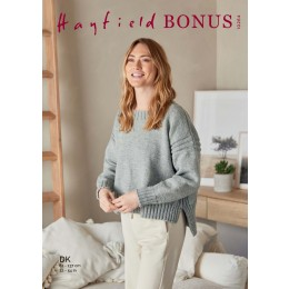 S10264 Ladies Boxy Stepped Hem Sweater in Hayfield Bonus DK