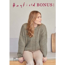 S10265 Slouchy Cable Sweater for Women in Hayfield Bonus DK
