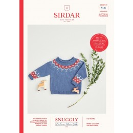 S5391 Nordic Fair Isle Yoke Sweater for Babies in Sirdar Snuggly Cashmere Merino Silk 4 Ply
