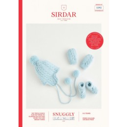 S5392 Baby's Pom-Pom Hat, Mittens & Booties in Sirdar Snuggly Cashmere Merino Silk 4 Ply
