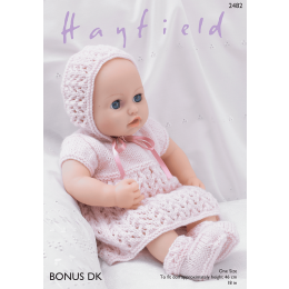 S2482 Baby Dolls Dress, Bonnet, Bootees and Pants in Hayfield Bonus DK