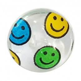 Clear Novelty Shank Button Smiley Face 15mm