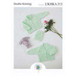 UKHKA213 Babies Round & V Neck Cardigans in DK